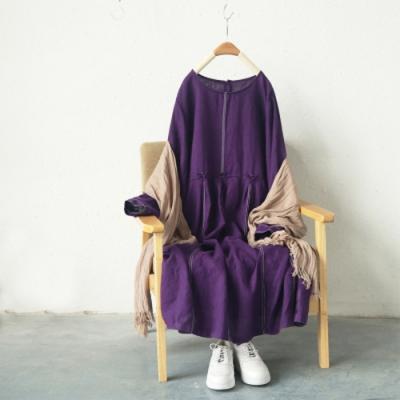 拼接寬鬆內搭長袖顯瘦中長版洋裝-設計所在
