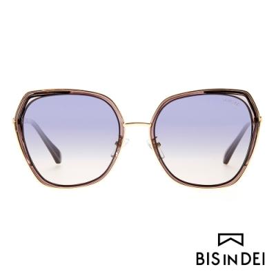 BIS IN DEI 金屬多角形側邊加厚框太陽眼鏡-褐