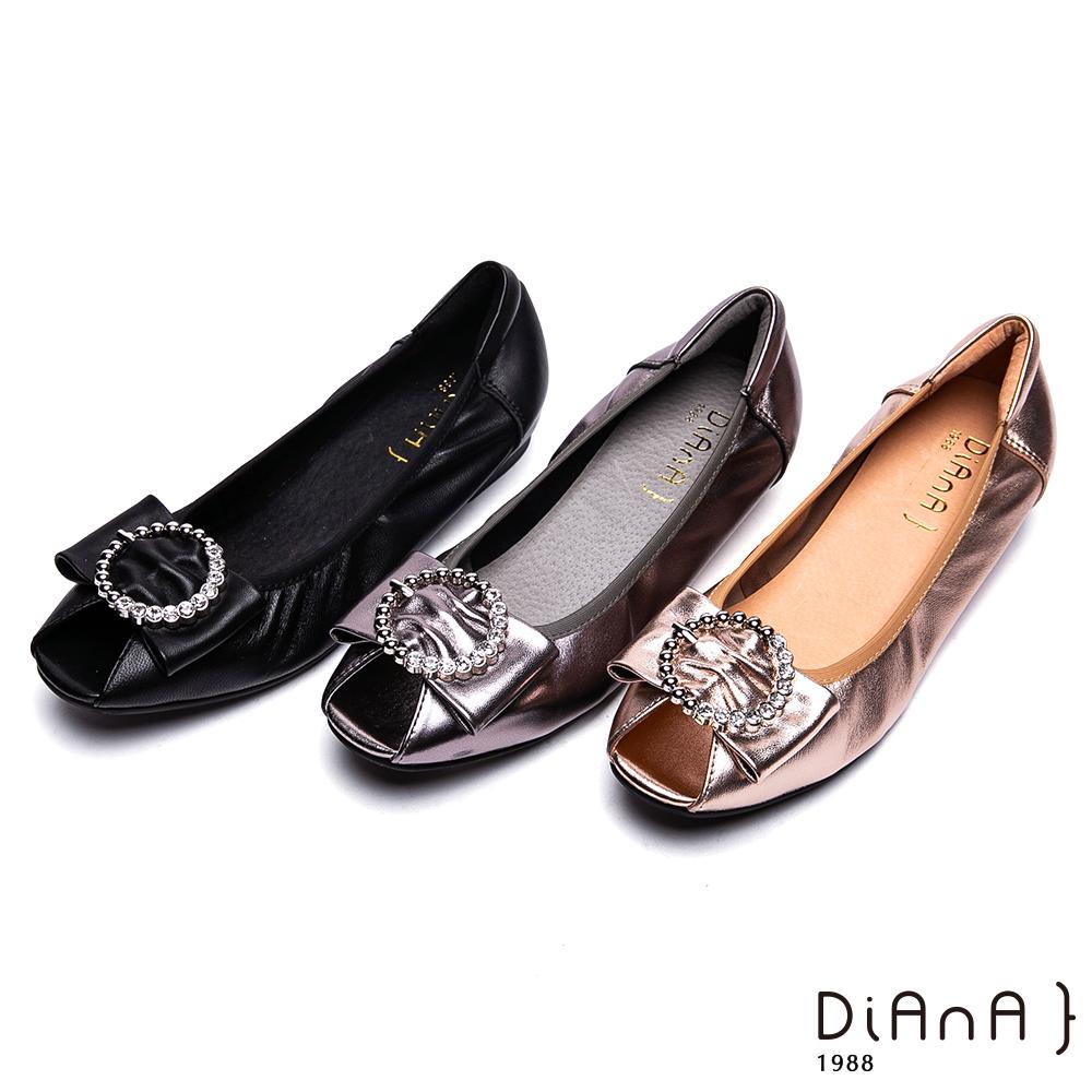 DIANA 時髦魅力-柔軟羊皮水鑽環釦飾魚口跟鞋-香檳金