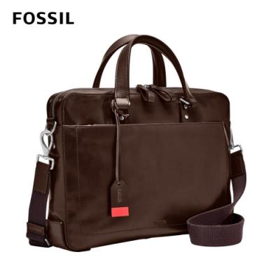 FOSSIL Defender 真皮經典公事包-深棕色 MBG9463201