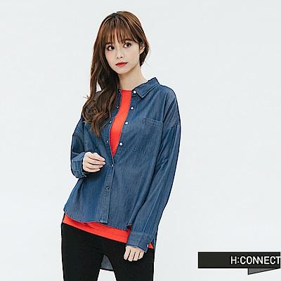 H:CONNECT 韓國品牌 女裝-下擺造型雙口袋襯衫-藍