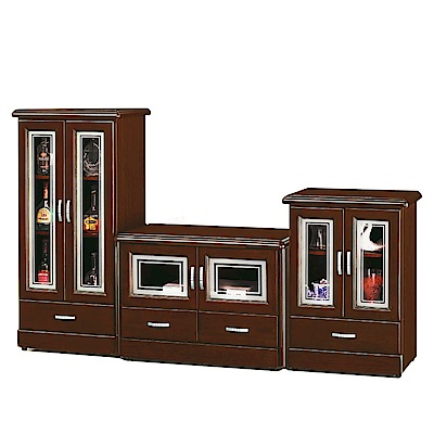綠活居 莫坦7尺實木電視櫃/展示櫃組合(高低櫃+電視櫃)-210x45x125cm-免組