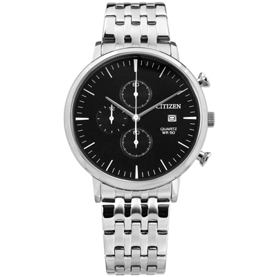 CITIZEN 三眼計時日期礦石強化玻璃防水不鏽鋼手錶-黑色/41mm