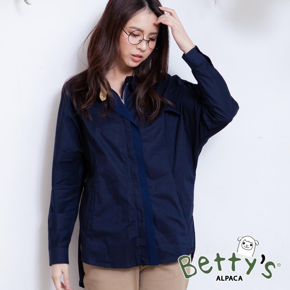betty's貝蒂思 後接雪紡拉鍊式襯衫(深藍) @ Y!購物