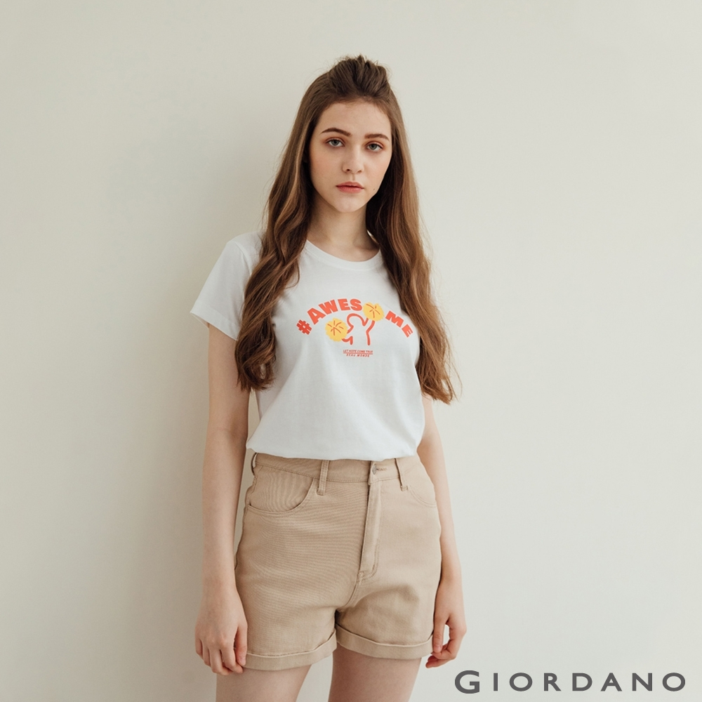 GIORDANO 女裝Hope印花T恤 - 01 皎白
