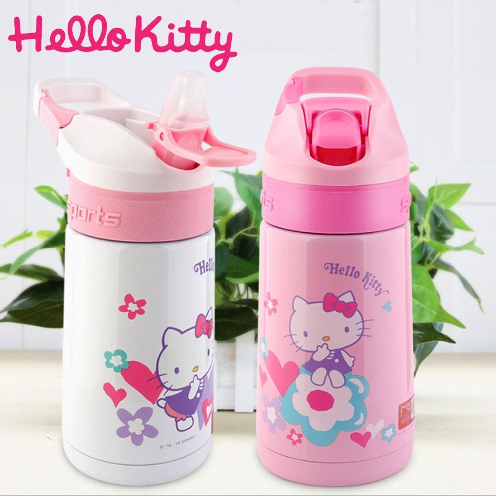 【優貝選】三麗鷗 HELLO KITTY 凱蒂貓 便攜手提式兒童保溫水壺