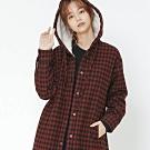 H:CONNECT 韓國品牌 女裝 -格紋刷毛連帽外套-紅(快)