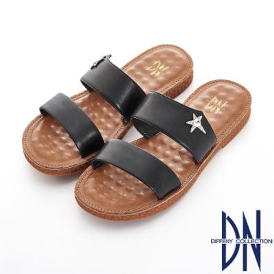 DN 夏日漫步 流星一字寬版舒適拖鞋-黑