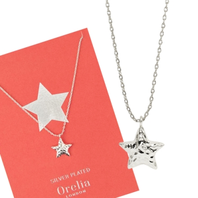 Orelia英國品牌 立體星星銀錘銀色項鍊