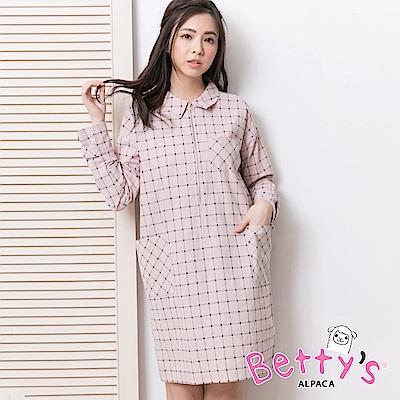 betty's貝蒂思 格紋半開襟拉鍊洋裝(淺粉)