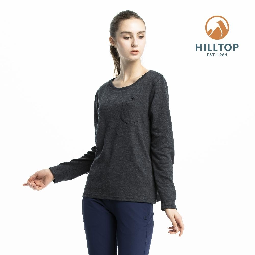 【hilltop山頂鳥】女款保暖抗菌長袖薄上衣H51FJ5黑美人