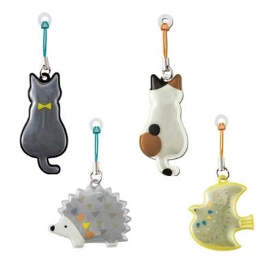 日本DECOLE反光磁鐵雨傘支撐架雨傘支撐器RF-4335刺蝟/黑貓/花貓(適兒童汔車安全上下車下雨防曬和夜晚上)