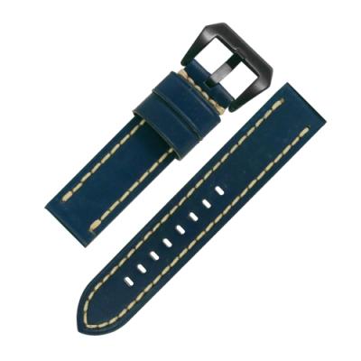 Watchband / 各品牌通用 百搭款 經典復刻 厚實柔軟 真皮錶帶 深藍色
