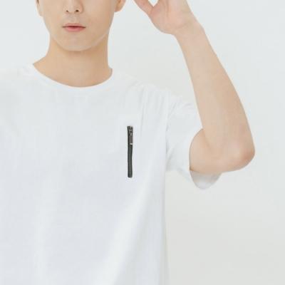H:CONNECT 韓國品牌 男裝-拼接條紋造型上衣-白