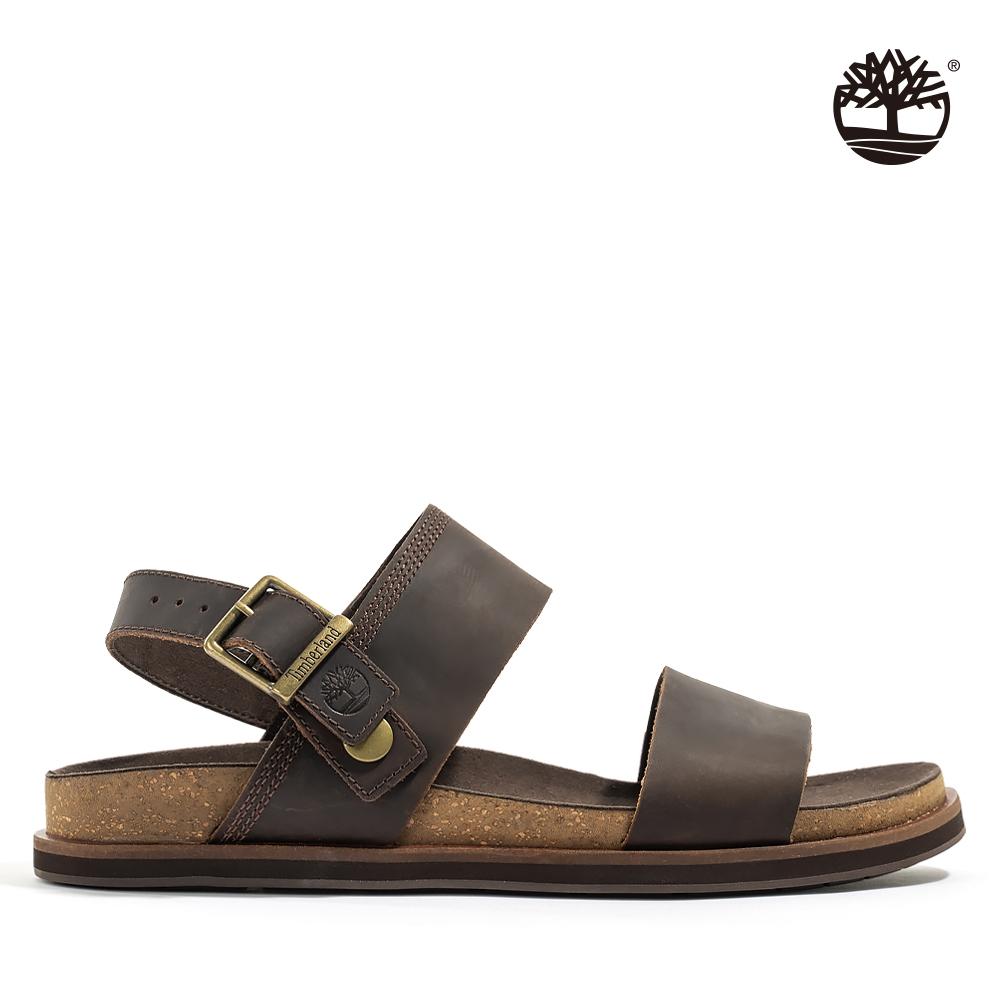 Timberland 男款深咖啡色全粒面皮革涼鞋|A419H