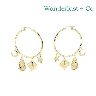 Wanderlust+Co 澳洲時尚品牌 Astra宇宙星月圓環耳環 金色