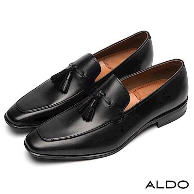 ALDO 原色真皮鞋面穿帶式流蘇尖頭樂福粗跟男鞋~尊爵黑色