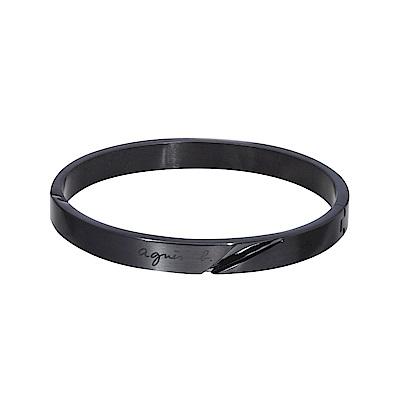 agnes b. 立體切面男性手環(黑)