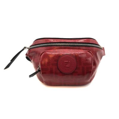 FENDI 經典品牌Logo帆布拉鍊mini斜背/腰包-紅