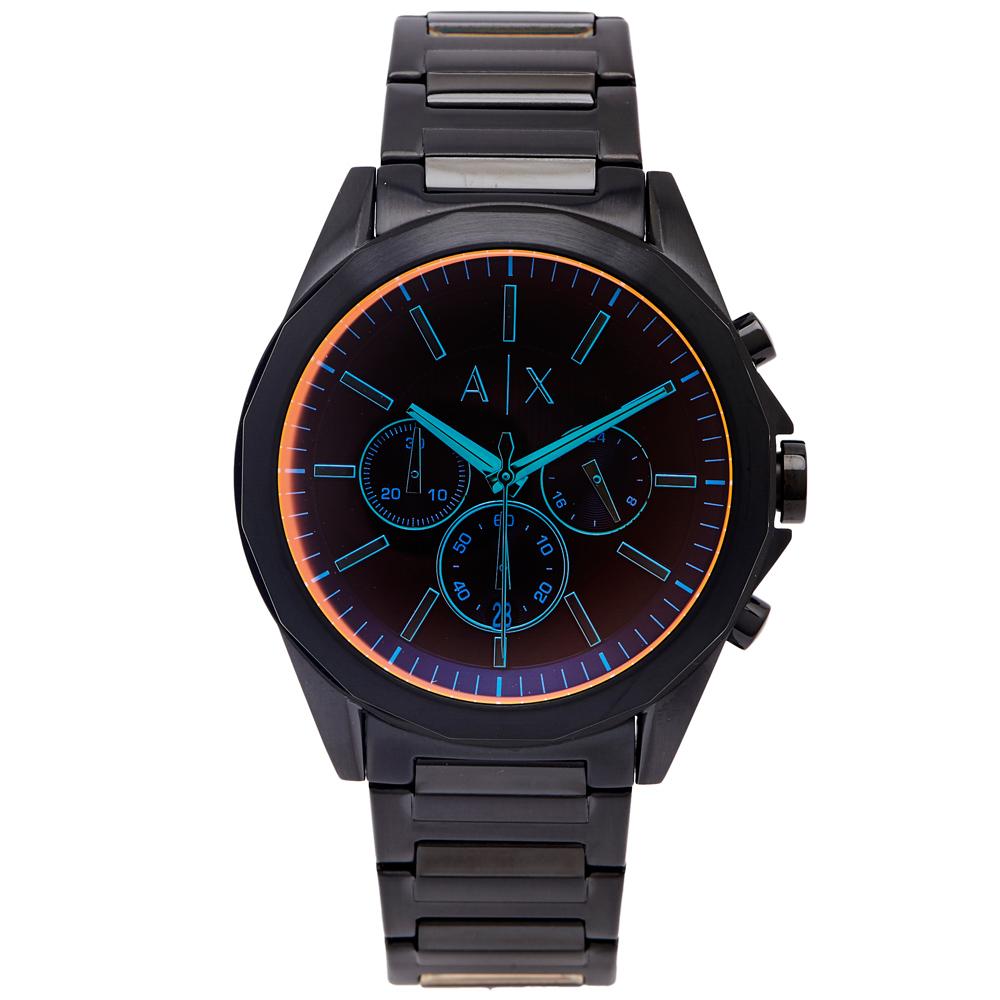 A/X ARMANI EXCHANGE 炫彩三眼計時手錶(AX2615)-橘面/43mm