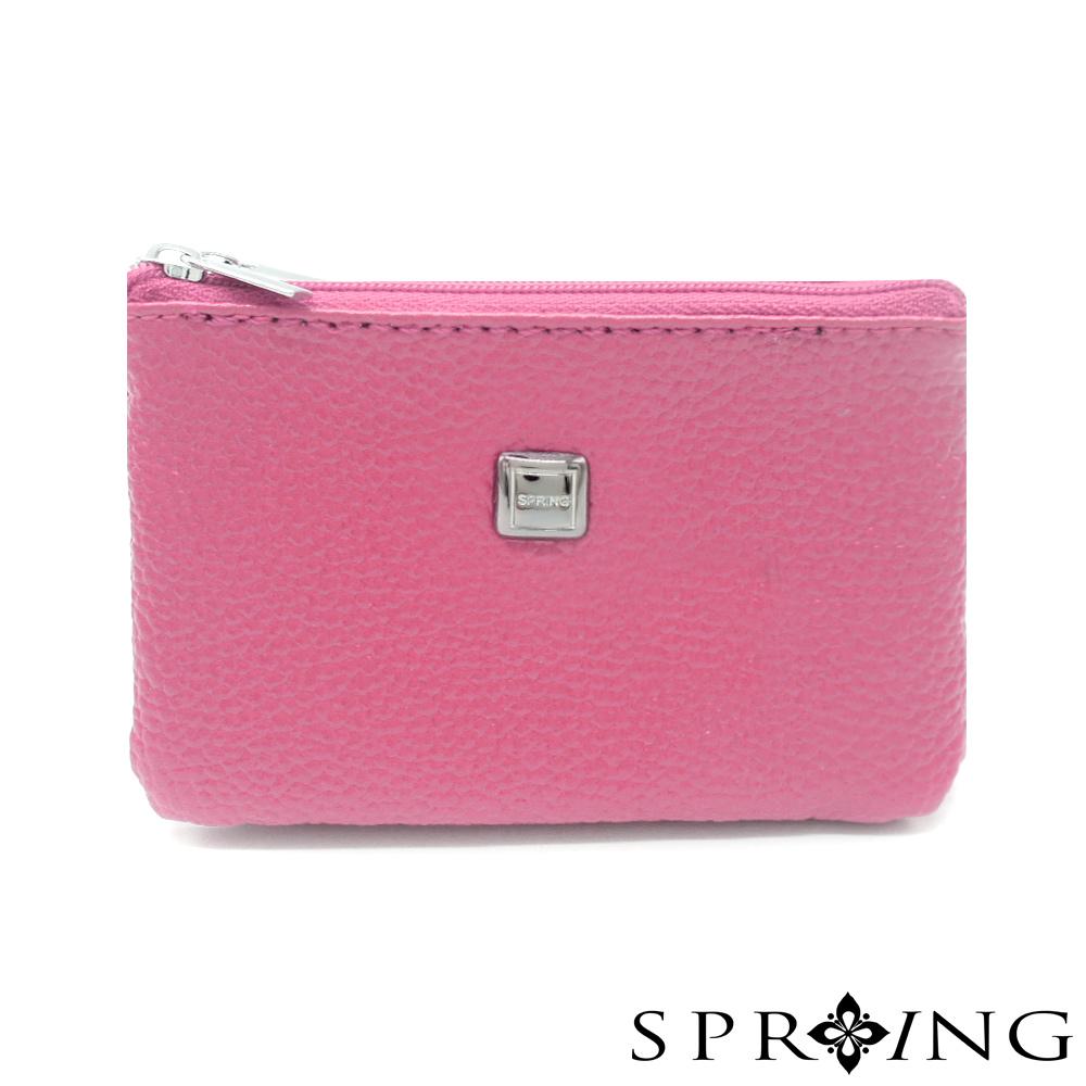 SPRING-特價-微風城市鑰匙圈雙層零錢包-櫻花粉