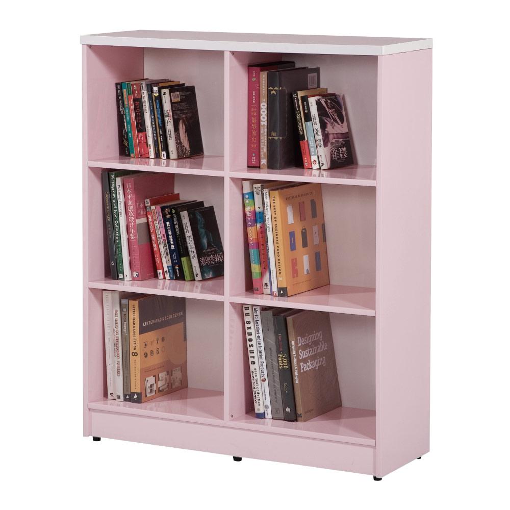 文創集 蘿倫環保3尺塑鋼開放式六格書櫃(四色)-90x31x113cm-免組