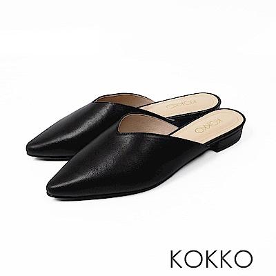 KOKKO - 春夜最愛深V羊皮穆勒拖鞋 - 時尚霧黑