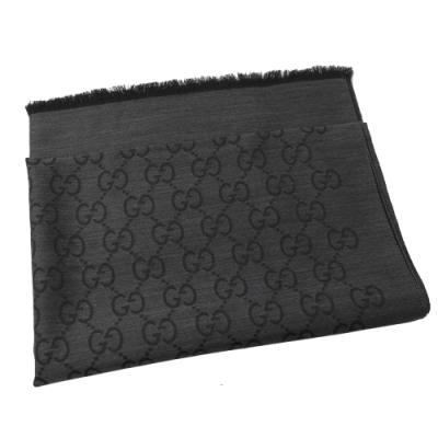 GUCCI 經典LOGO羊毛織圍巾/披肩(炭灰色)
