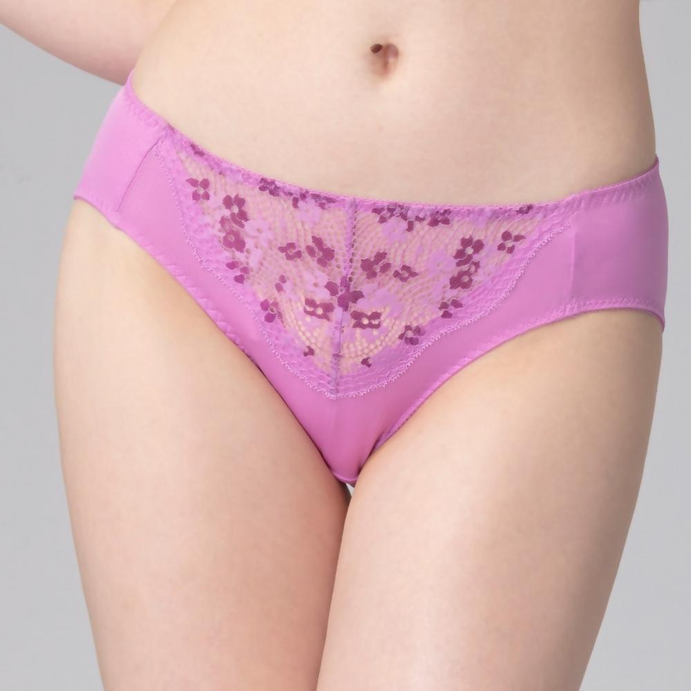 思薇爾 花蕾系列M-XXL蕾絲中腰三角內褲(炫紫色)