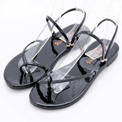 River&Moon舒適穿趾寬版2way平底涼鞋 黑