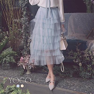 東京著衣-YOCO 浪漫多情鬆緊層次感蛋糕紗裙(共兩色)