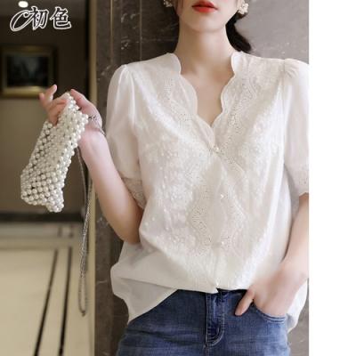 初色  法式蕾絲V領上衣-白色-(M-2XL可選)