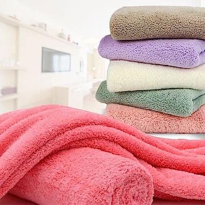 EZlife 纖柔超吸水日式微米紡滑紗毛巾浴巾組(贈壁掛式收納盒)