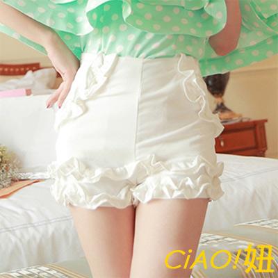 百搭款荷葉邊修身短褲 (白色)-CIAO妞