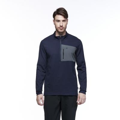 【HAKERS 哈克士】男 保暖立領半開襟排汗衣(深藍色)