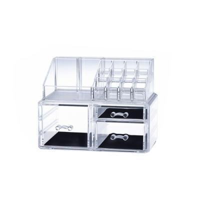日本霜山 壓克力透明化妝品抽屜式收纳盒+多格口紅收納盒(左右三層抽屜)