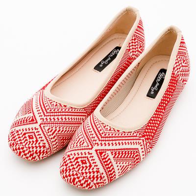 River&Moon韓版超軟飛織圖騰娃娃鞋*紅
