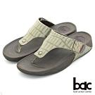 【bac】舒適樂活 多密度大底時尚壓紋夾腳鞋-綠色