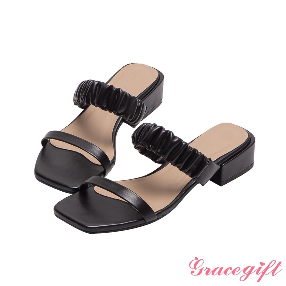 Grace gift-雙帶方頭低跟涼拖鞋 黑