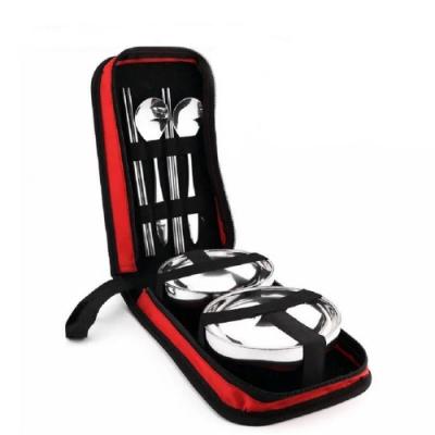 攜帶式 不鏽鋼雙人餐具套裝組 (<b>2</b>組優惠)    顏色隨機