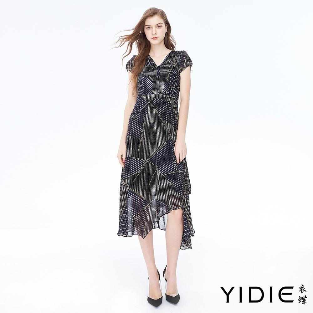 YIDIE衣蝶 V領花邊不規則下擺洋裝