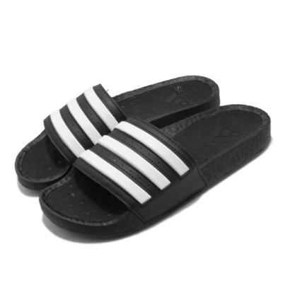 adidas 拖鞋 Adilette Boost 男女鞋 愛迪達 緩震 日常 外出 基本款 情侶鞋 黑 白 FY8154