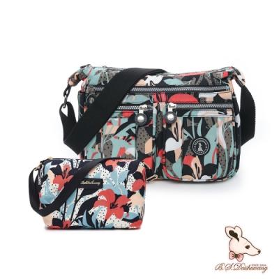 B.S.D.S冰山袋鼠 - 楓糖瑪芝 - 多夾層皺褶斜背包+側背小包2件組 - 熱帶雨林