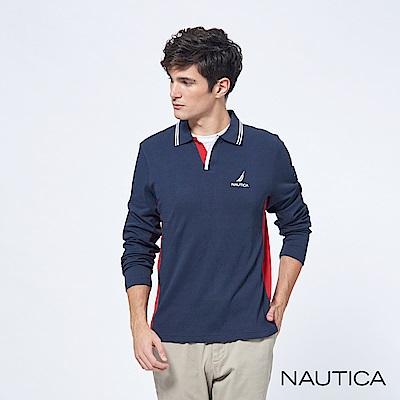 Nautica開襟撞色修身長袖POLO衫-深藍