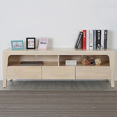 Homelike 克林實木電視櫃(洗白色)-152x45x51cm