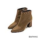 達芙妮DAPHNE 短靴-原色金屬鉚釘釦尖頭粗跟短靴-橄欖綠