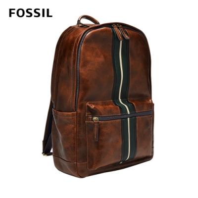 FOSSIL Buckner 簡約線條真皮後背包(可入13吋筆電)-干邑色 MBG9545222