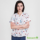 bossini女裝-無領短袖印花襯衫02白