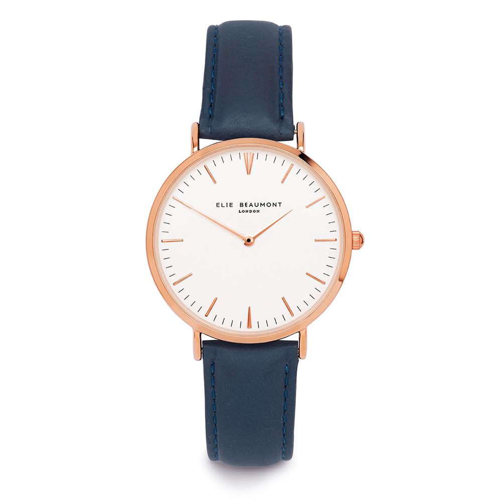 Elie Beaumont 英國時尚手錶 牛津系列 白錶盤x深藍皮革錶帶x玫瑰金框38mm