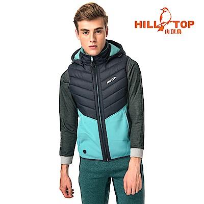 【hilltop山頂鳥】男款遠紅外線發熱科技保暖棉刷毛背心H25M95灰綠